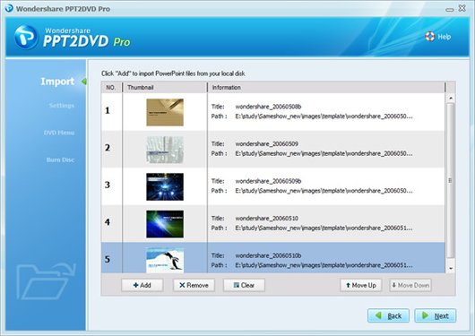 import files before burning ppt to dvd